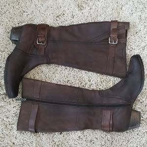 Tamaris knee high boots in quality brown leather
